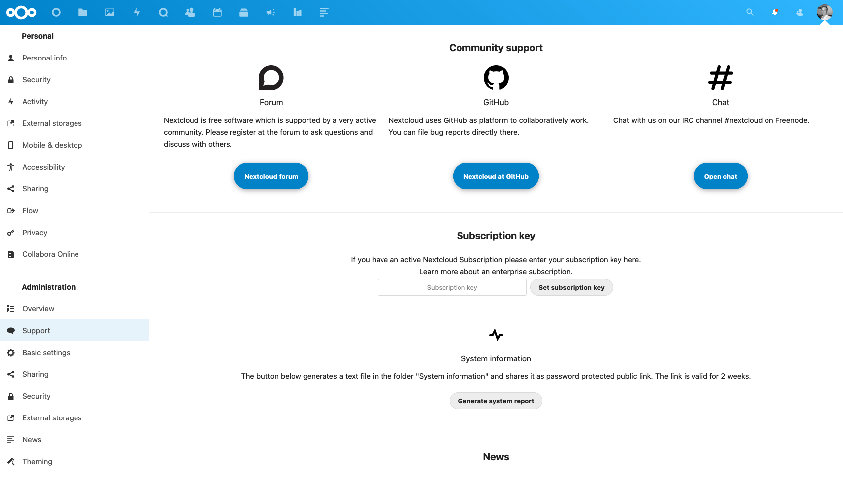 Nextcloud settings for support